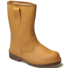 DICKIES LINED STEEL TOE CAP WORK BOOTS SAFETY RIGGER TAN SIZE UK 6 -12 FA23350