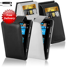 NEW STYLISH LEATHER FLIP CASE COVER & SCREEN PROTECTOR FOR NOKIA LUMIA 800
