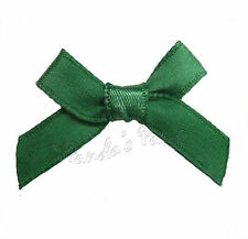 Christmas Hunter Green Satin Ribbon Bows, Choose 3mm or 7mm- 30pk, 50pk or 100pk