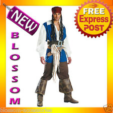 C211 Pirates Captain Jack Sparrow Adult Mens Halloween Fancy Dress Costume