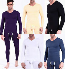 2014 NEW Sexy Men's Long V-neck T-shirts Modal Thermal Underwear 5 Colors