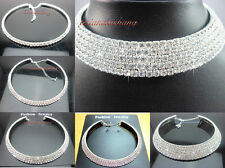 New Sparkling 1 - 5 Row Diamante SWAROVSKI Crystal Choker Necklace Wedding Prom