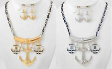 NEW CRYSTAL ANCHOR PENDANT NAUTICAL NAVY ROPE CHAIN NECKLACE & EARRINGS SET