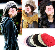 Fashion Warm Winter Knit Knitted Women Beret Braided Beanie Crochet Hat Ski Cap