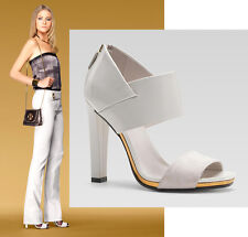$775 GUCCI KAREN SANDALS WHITE HIGH HEEL SHOES SUEDE LEATHER RUNWAY 39.5 / 9.5