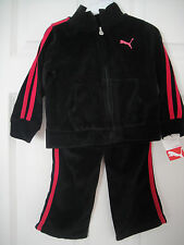 PUMA NWT Girls 2PC VELOUR Track Suit Jacket Pants Top Warm Up 2 3 3T 4 4T 5 6 6X