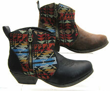 LADIES SPOT ON COWBOY STYLE ANKLE BOOT F50049- BLACK AND TAN MICROFIBRE £15.00