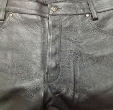 MENS COWHIDE LEATHER BUTTON FLY 5 POCKETS JEANS CASUAL BIKER MOTORCYCLE PANT NEW