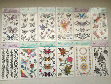 12 Designs - Large Set Assorted  Stick on Temporary Tattoos Bday Gift Bag Filler