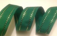 Christmas Green + Gold Stripe Wire-Edged Wired Gift Wrap/Cake Decoration Ribbon