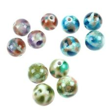 10 Acrylic Abstract Round Shaped Beads, Jewellery Making And Crafts, 17mm