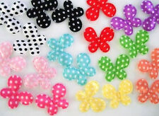 """100 Small 1"""" Satin Polka Dot Butterfly Applique/Trim/Craft/Sewing H97-Pick Color"""