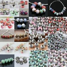 Wholesale Howlite Turquoise Gemstone Rondelle European Beads Fit Charms Bracelet