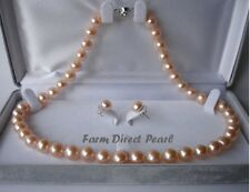 AAA ROUND 9-10mm Peach Pearl Necklace Earrings Set Genuine Cultured Freshwater