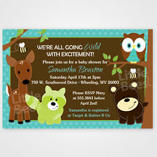 Woodland Forest Animal Friends -- Printable Baby Shower or Birthday Invitations