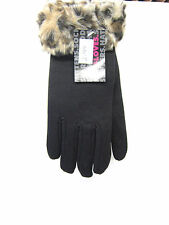 LADIES GLOVES WITH FAUX FUR CUFF GL254 BLACK ONE SIZE