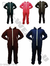 MENS FASHIONABLE HOODED COLOURED JOGGER ONESIE ALL IN ONE ZIP JUMPSUIT WARM