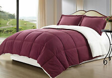 Borrego Burgundy Sherpa Down Alternative Comforter mini Set Twin, Queen, King