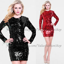 Womens Vintage Sequins Glitter low neck Back Bodycon Stretch Party Mini Dress