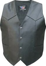 A2214 Tall- Mens Leather Motorcycle Basic plain vest TALL