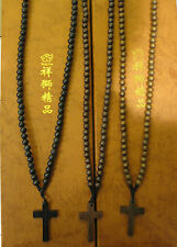 CROSS, WOOD BALL BEADS CHAIN NECKLACE, ROSARY, GOOD WOOD STYLE, BUY 2 GET 1 FREE