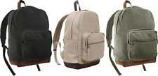 Vintage Military School Teardrop Backpack with Leather Bottom