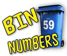 MULTI COLOUR WHEELIE BIN NUMBERS adhesive stickers recycling wheely rubbish bins