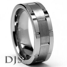 Men's Tungsten Carbide Grooved Ring Wedding Band  -  Size 7.5 to 14.5