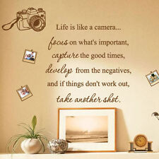 Life Is Like a Camera Photo Family Art Wall Quotes / Wall Stickers/ Wall Decals