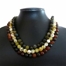 Faceted agate bead necklace bracelet earrings set - red, black, yellow or green