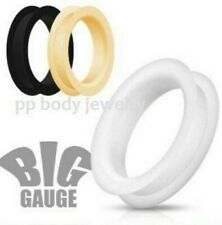 """PAIR 1-1/8"""" to 2"""" Ultra Soft Silicone Flexible Double Flat Flared Tunnel Plugs"""
