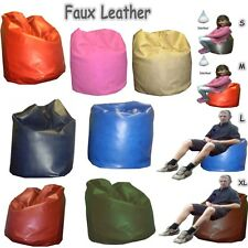 Faux Leather Bean Bags Giant Teen Kids Large Adults jumbo Beanbag Pre-Filled