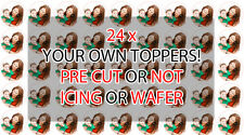 24 x YOUR OWN PERSONALISED Precut Icing Wafer Edible Cupcake Fairy Cake Toppers