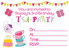 PERSONALISED GIRLS TEA PARTY (TEAPARTY) BIRTHDAY INVITATIONS & THANK YOU CARDS
