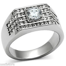 1.45ct Clear CZ Stone & 56 Crystal Silver Stainless Steel Mens Ring