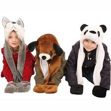 Childrens Fleece Lined Furry Animal Hat with Mitten Pockets