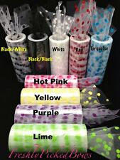 "5-3/4"" Polka Dot Flocked Tulle 10 yard roll 9 colors available"