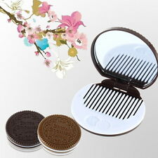 Cute Cookie Shaped Design Mirror Makeup Chocolate Comb HG008