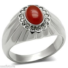 Siam Red Oval Onyx Silver Stainless Steel Mens Ring
