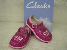 Clarks SALE Alana Star Fst Hot Pink Leather T-Bar Buckle First Shoes