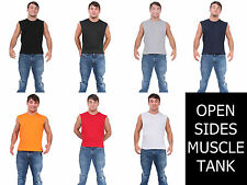 MEN'S BASIC SLEEVELESS TEE SHIRT PLAIN MUSCLE TANK WITH OPEN SIDES WORKOUT TOP