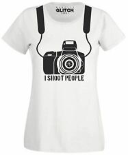 Womens I Shoot People T Shirt - Photo Ladies Fitted T-Shirt Photography Camera