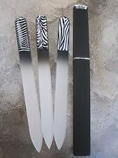 Zebra Print Czech  Crystal Glass Nail File with Hard Case Included Print Choice