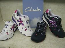 Clarks Cica Daisy Shimmer White Or Navy Leather Velcro Trainers