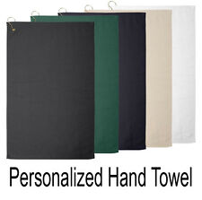 Personalized Hemmed Golf Hand Towel w/ Hook & Name, Cotton In 5 Colors (T68GH)