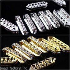 Multicolor 27x7mm Fusiform 5 Holes Bar Rhinestone Charm Finding Spacer Beads