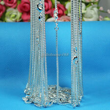 "Wholesale 10pcs 1mm Silver Plated Box Chain Necklace 16""-24"",Pick Length!"