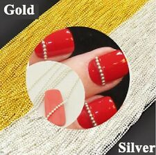 Gold / Silver Caviar Beads Steel Ball Line Chain for Nail Art 3D Decoration