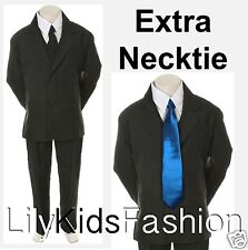 Boy Toddler Kid Formal Wedding Tuxedo Suits Vest Set EXTRA RoyalBlue Tie 6PC S-7