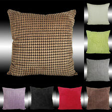 2X SIMPLE STYLE CHECKED SOFT VELVET CUSHION COVERS THROW PILLOW CASES 17""